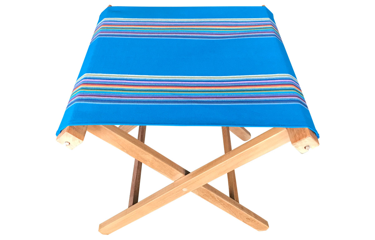 dark turquoise, rainbow- Portable Folding Stools with Striped Seats