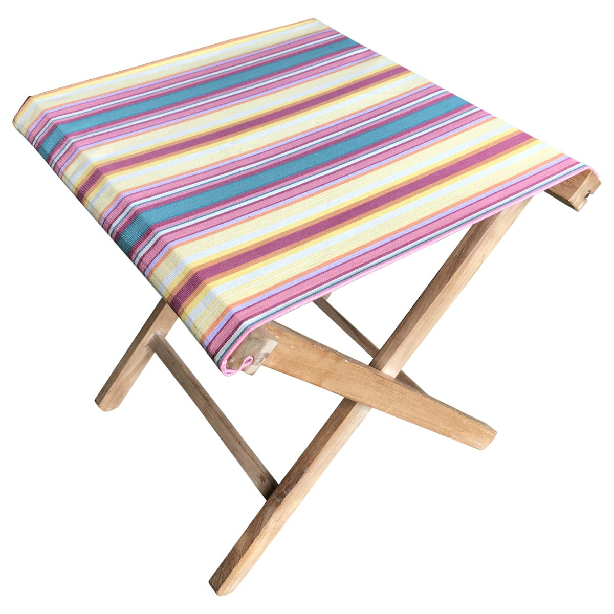 yellow, pink, green - Portable Folding Stools with Striped Seats