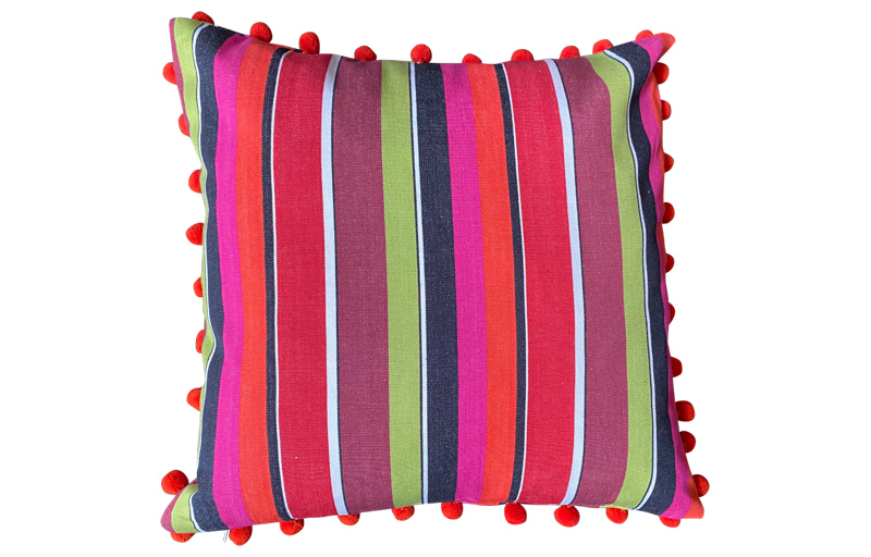 Fuschia Pink, Coral and Black Striped Pompom Cushions 50x50cm