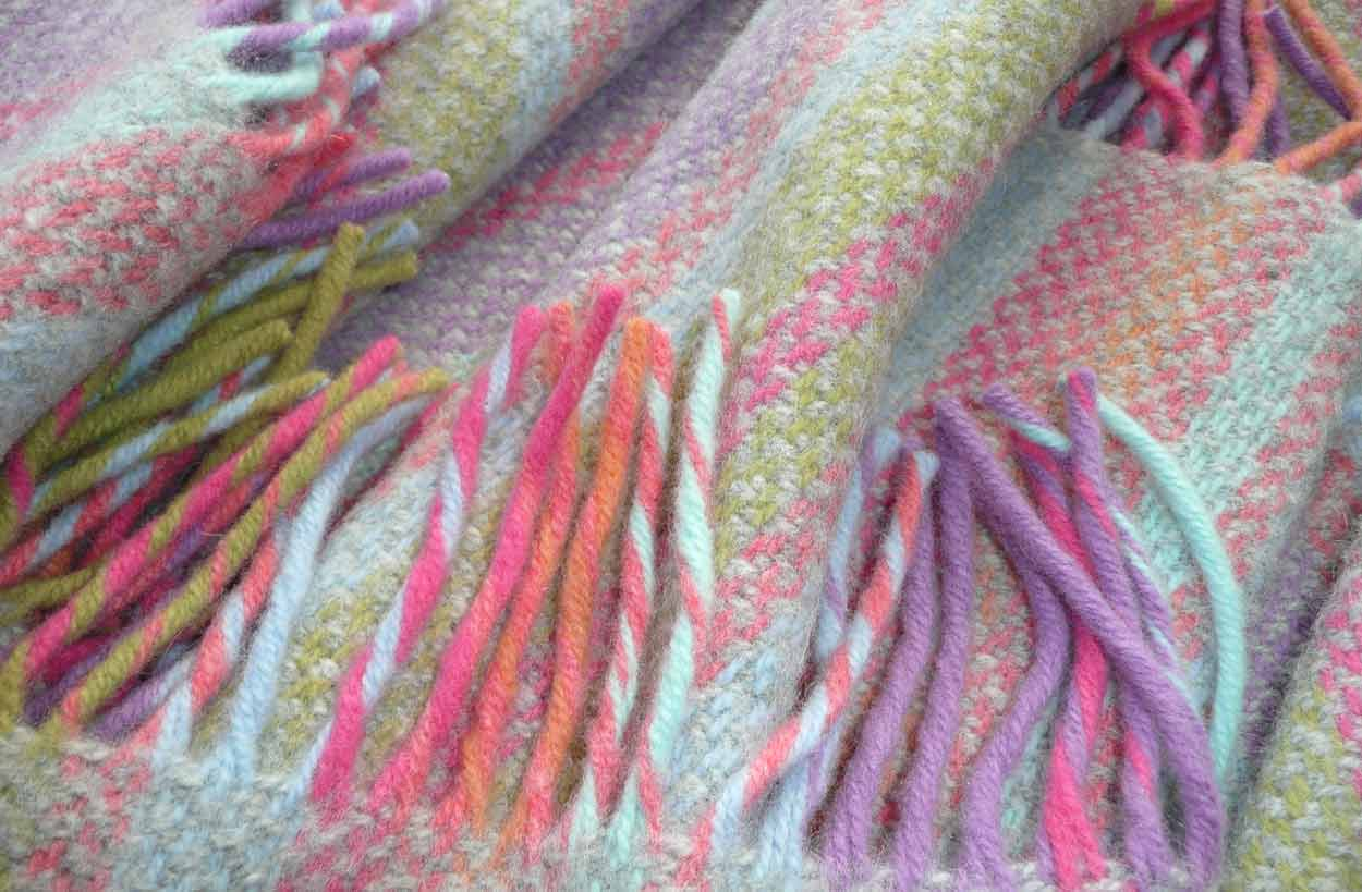 pink - Striped Throws Merino and Cashmere Mix