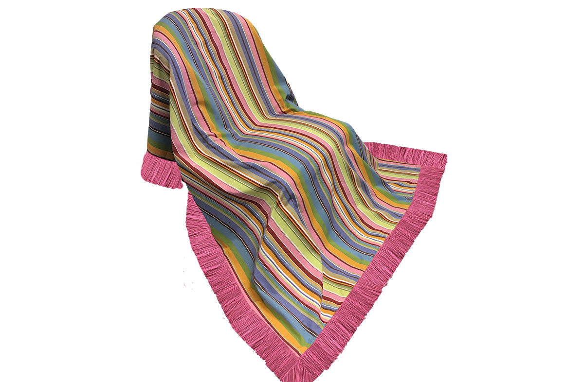Striped Fringed Cotton Throws blue, pink, turquoise
