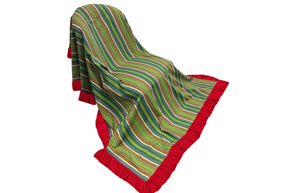 Pretty Green Striped Fringed Cotton Throws