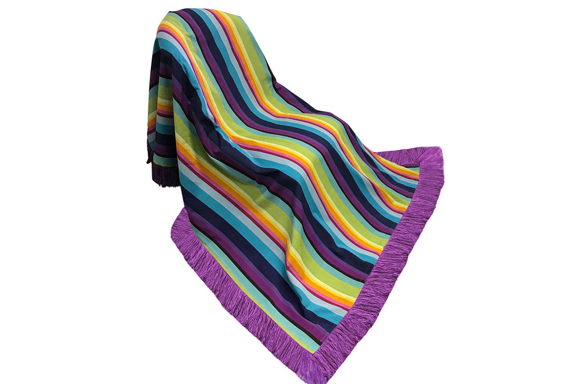 Stripe Cotton Fringed Throw bright rainbow stripes
