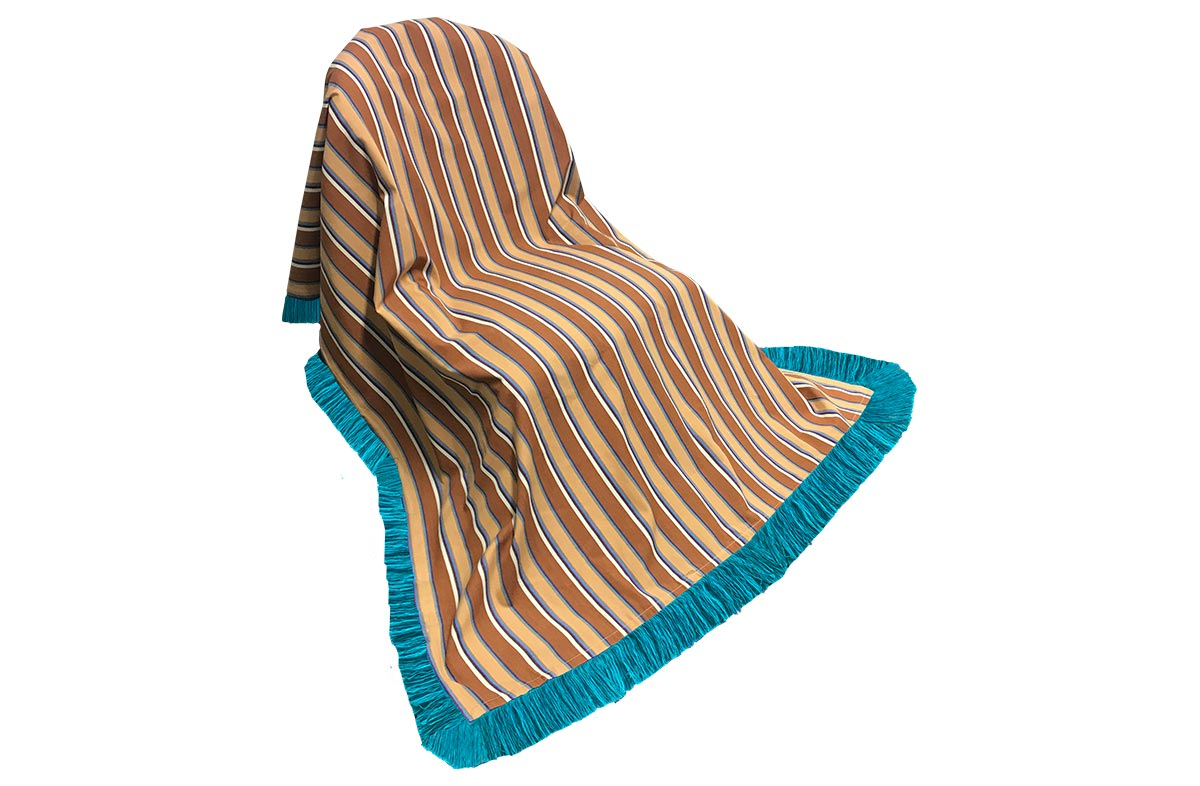 Chestnut Brown Stripe Cotton Throw with Turquoise Fringe