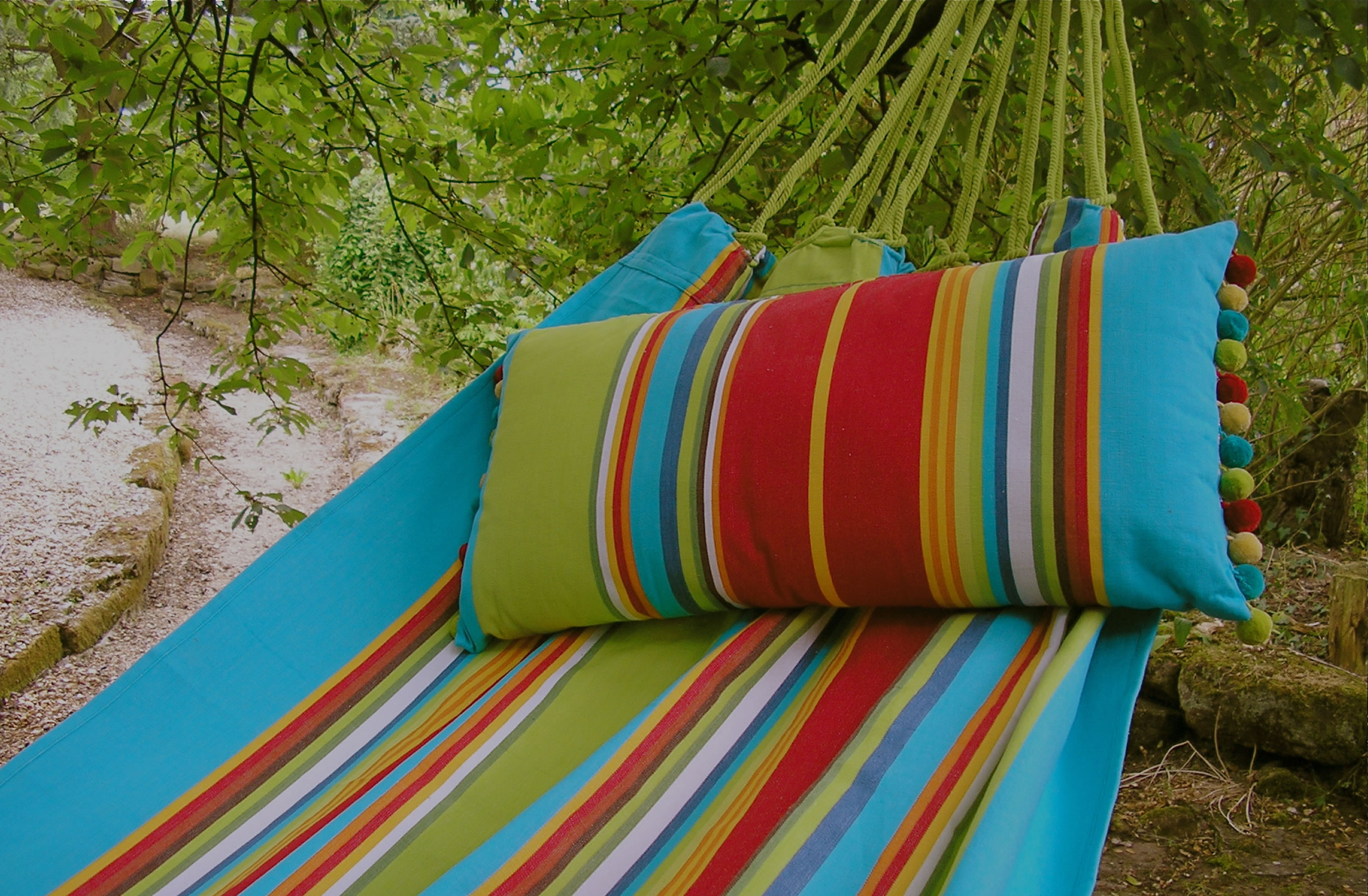 Turquoise, Red and Lime Green Striped Hammock