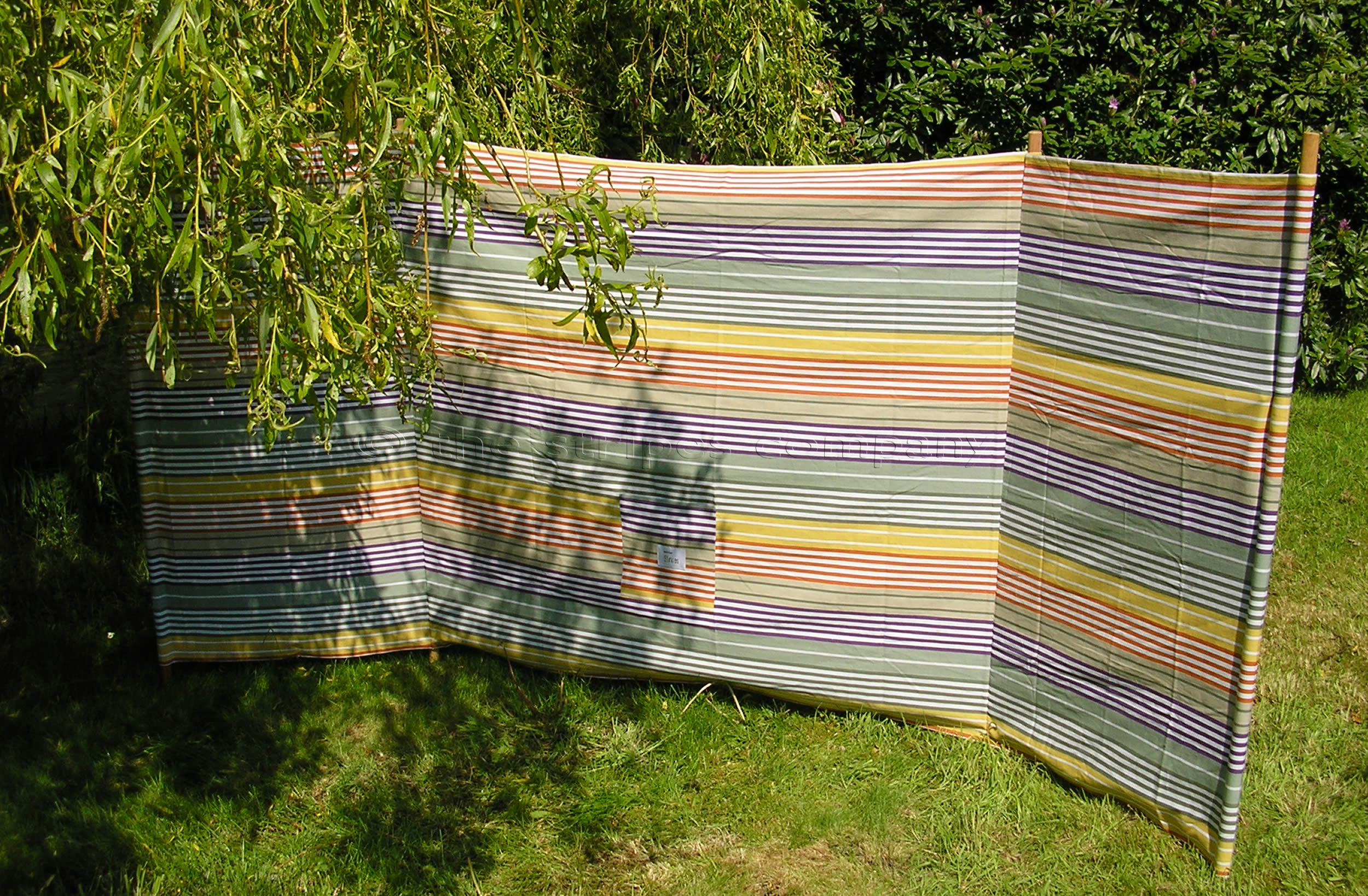 Sage Green Striped Beach Windbreaks with 4 poles  Boules Stripes