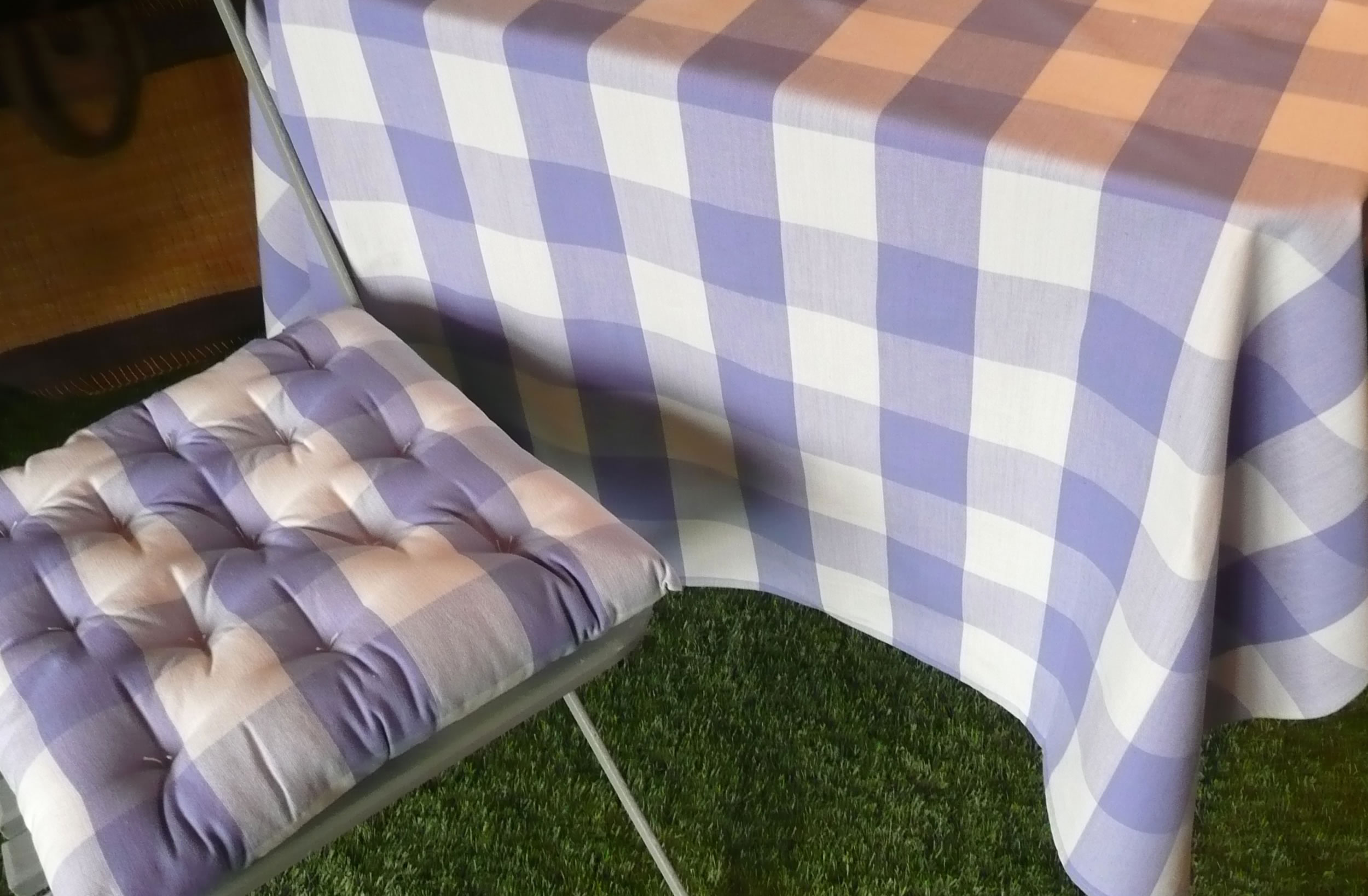 Gingham Large Check Fabric - Lavender Blue and White Checks