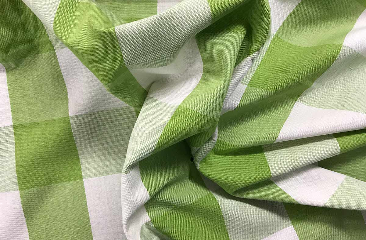 Green and White Gingham Fabrics Large Checks