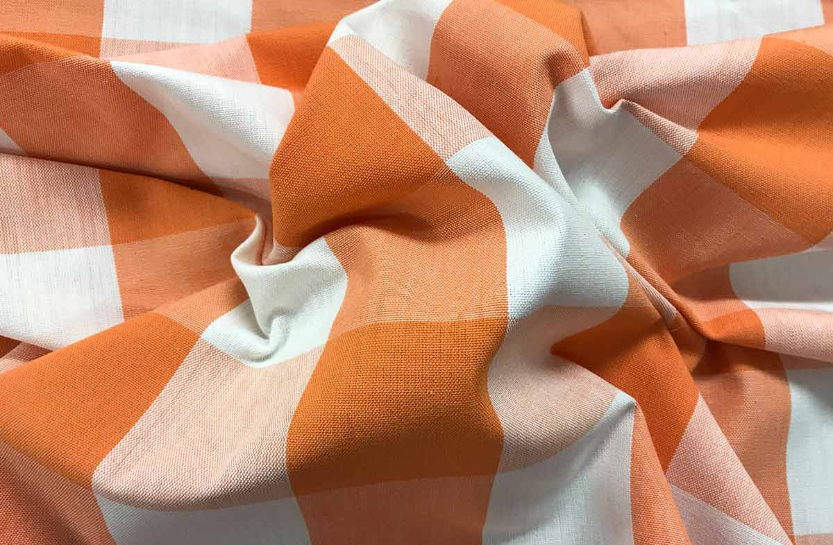Tangerine Orange Gingham Fabrics Large Checks