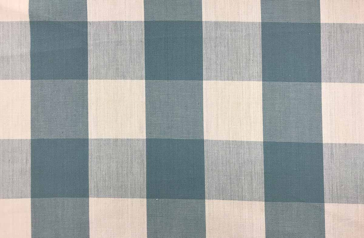 teal and white- Gingham Fabrics Large Checks