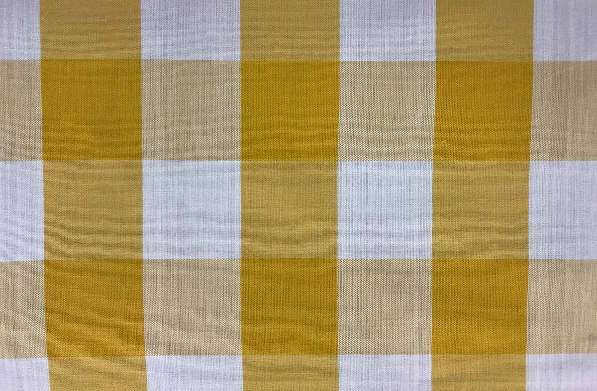 yellow white- Gingham Fabrics Large Checks