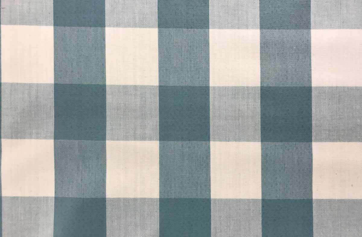 Teal and White Gingham Oilcloth Fabric Large Check