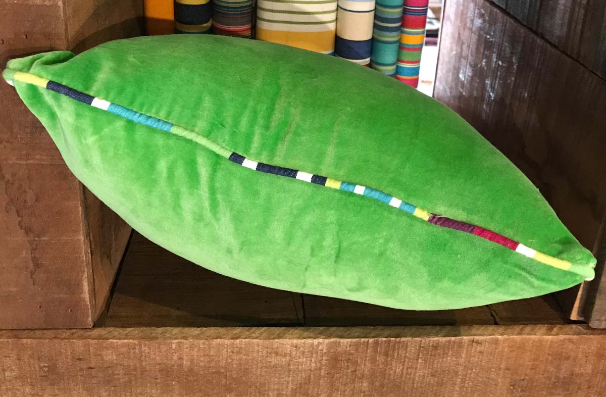 Green Velvet Cushion with Stripe Piping