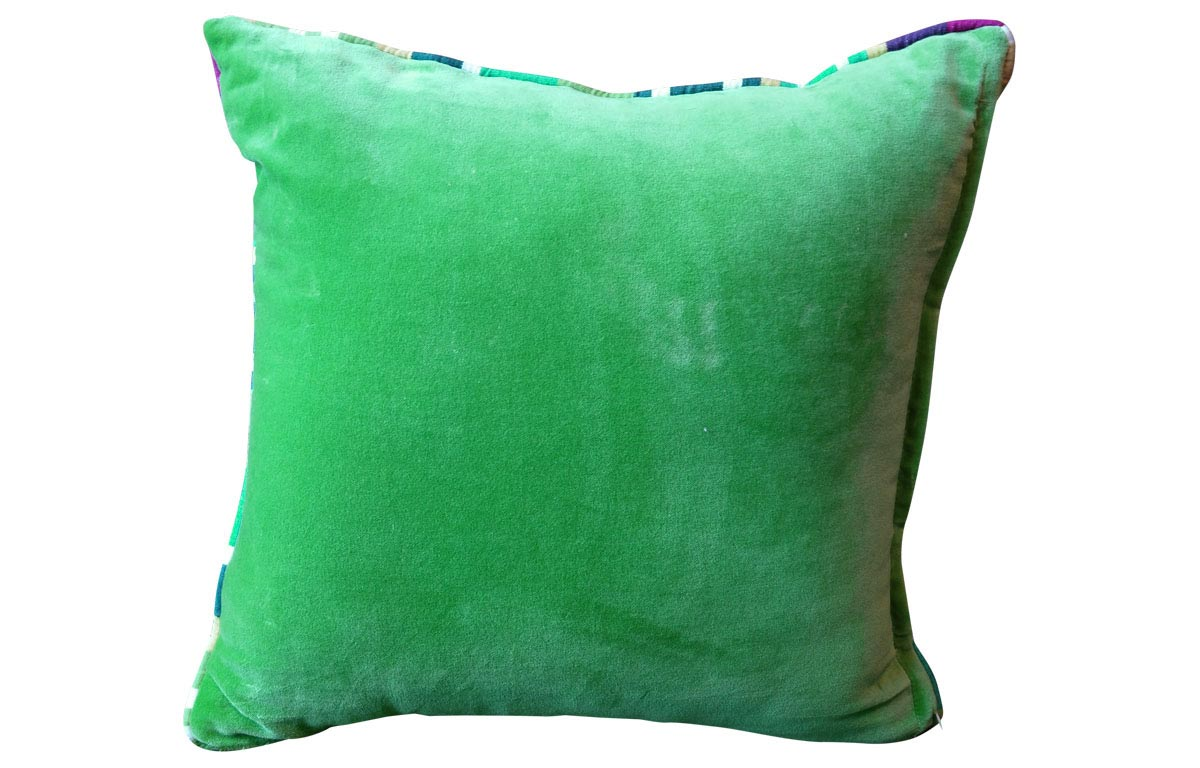 Cushion with Stripe Piping- Green Velvet Home Furnishings with Stripes