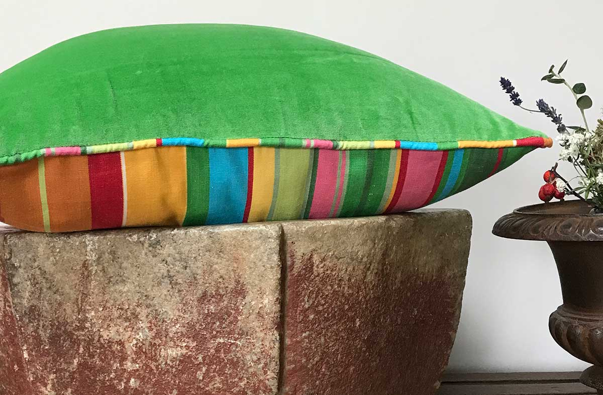 Green Velvet Piped Half n Half Cushions