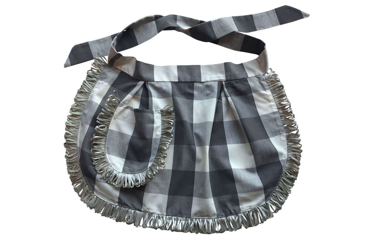 Charcoal Grey and White Gingham Waist Aprons