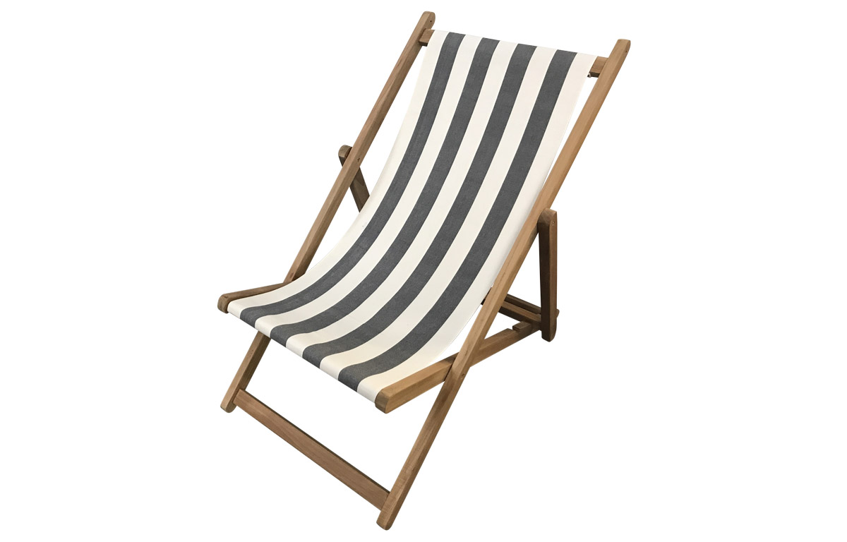 Grey and White Stripe Deckchair