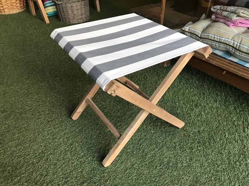 Grey and White Stripe Folding Wooden Stool