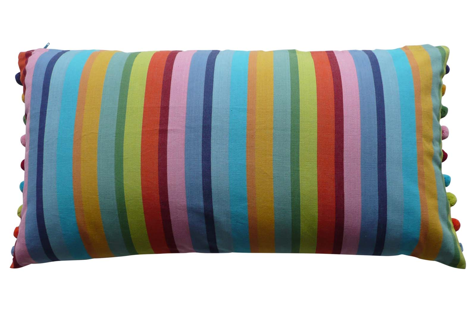 Rainbow Striped Oblong Cushions with Bobble Fringe
