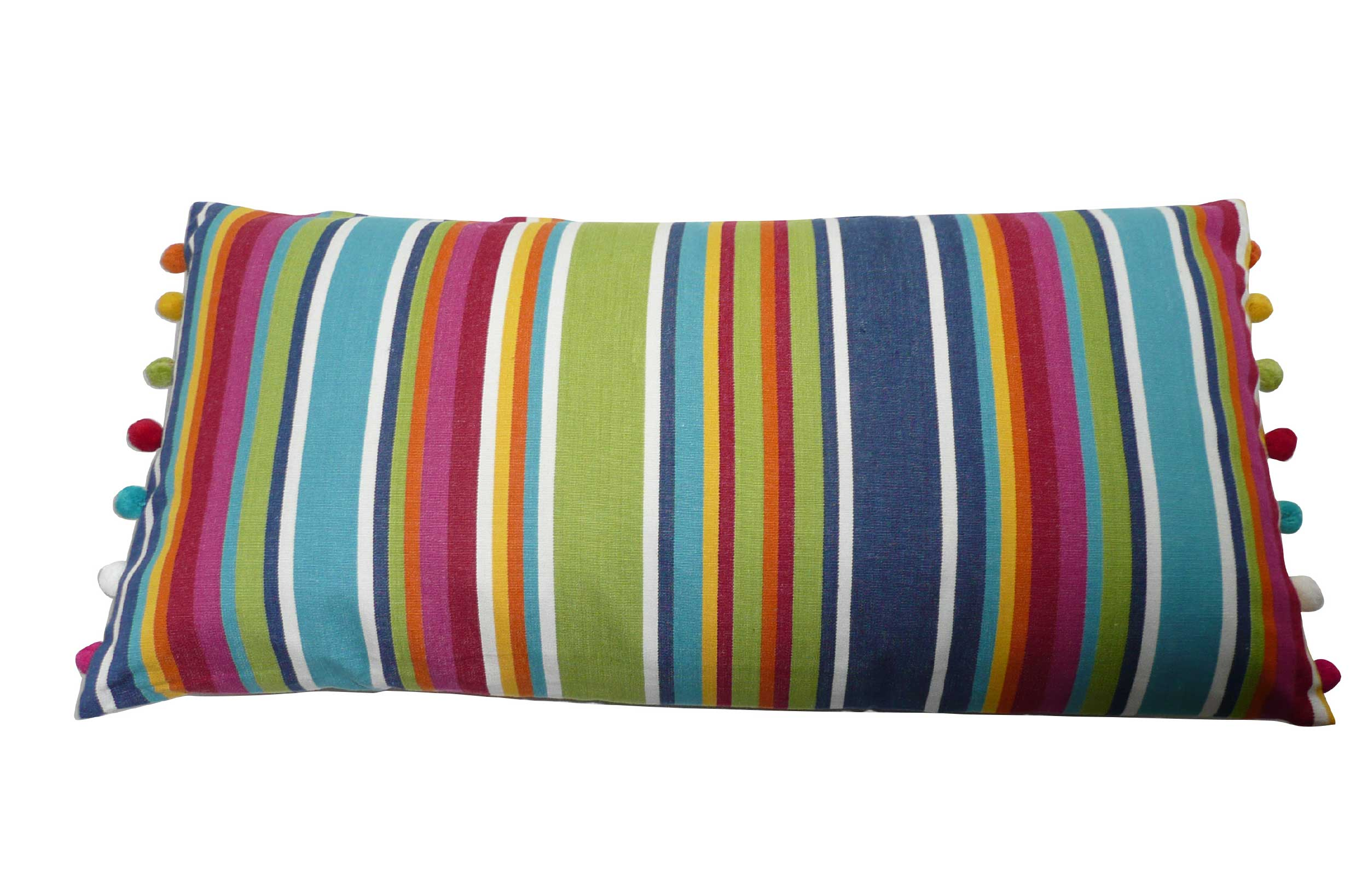 Oblong Cushions | Rainbow Striped Oblong Cushions with bobble fringe