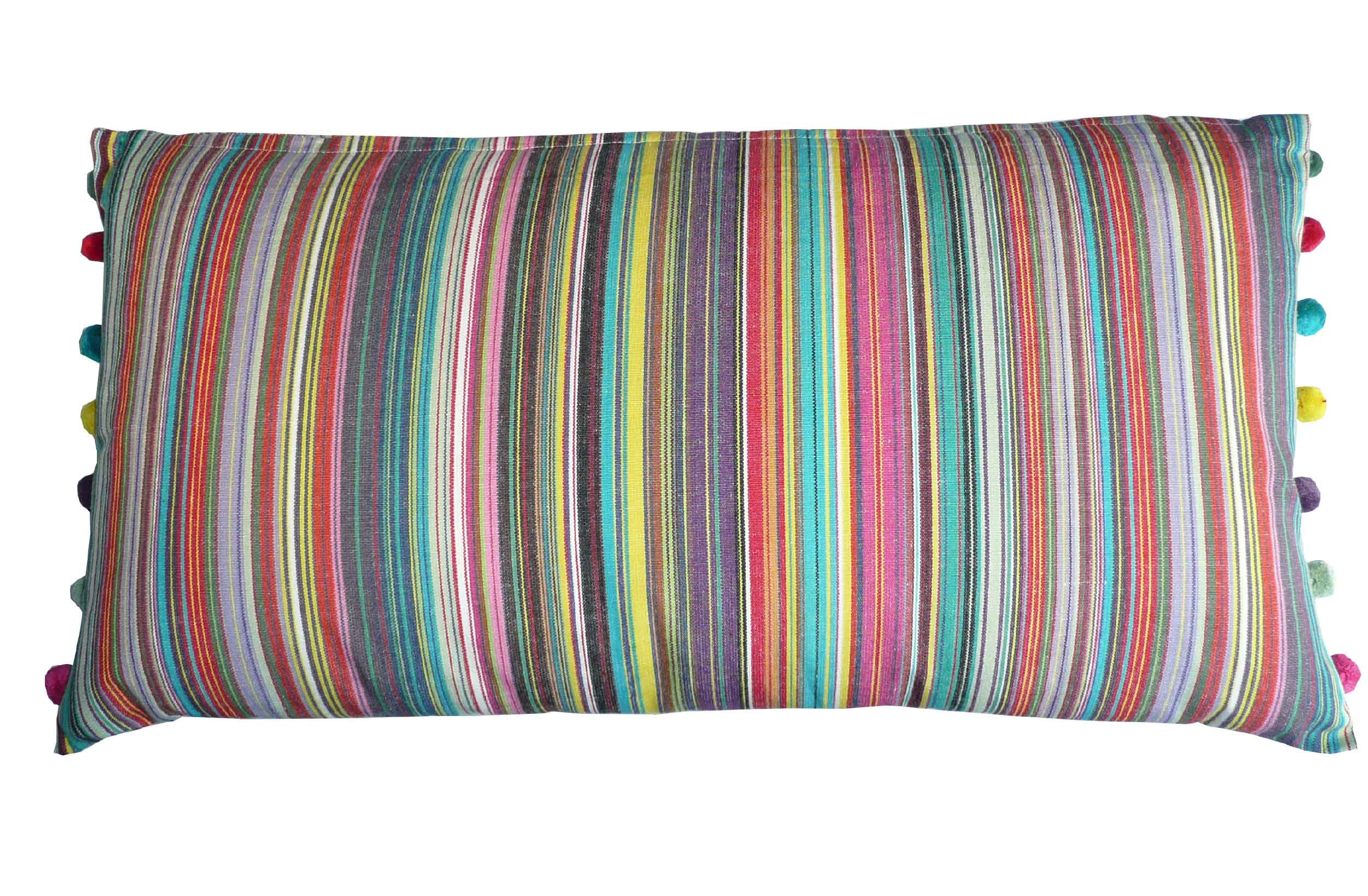 Oblong Cushions thin rainbow multi stripes | Oblong Sofa Cushions | Striped Oblong Cushions with bobble fringe