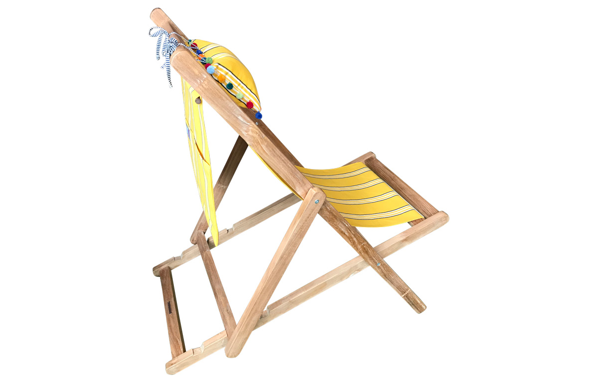 Yellow Stripe Teak Deckchair with Headrest and Pockets