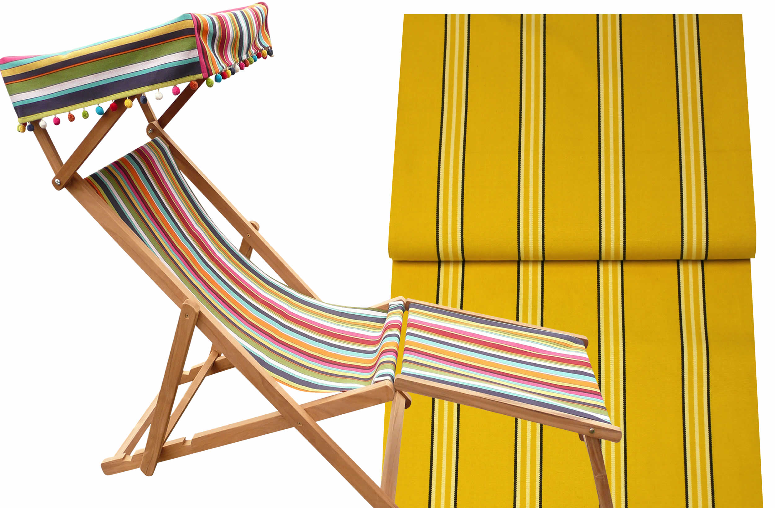 Handball Yellow Striped Edwardian Deckchairs with Canopy and Footstool