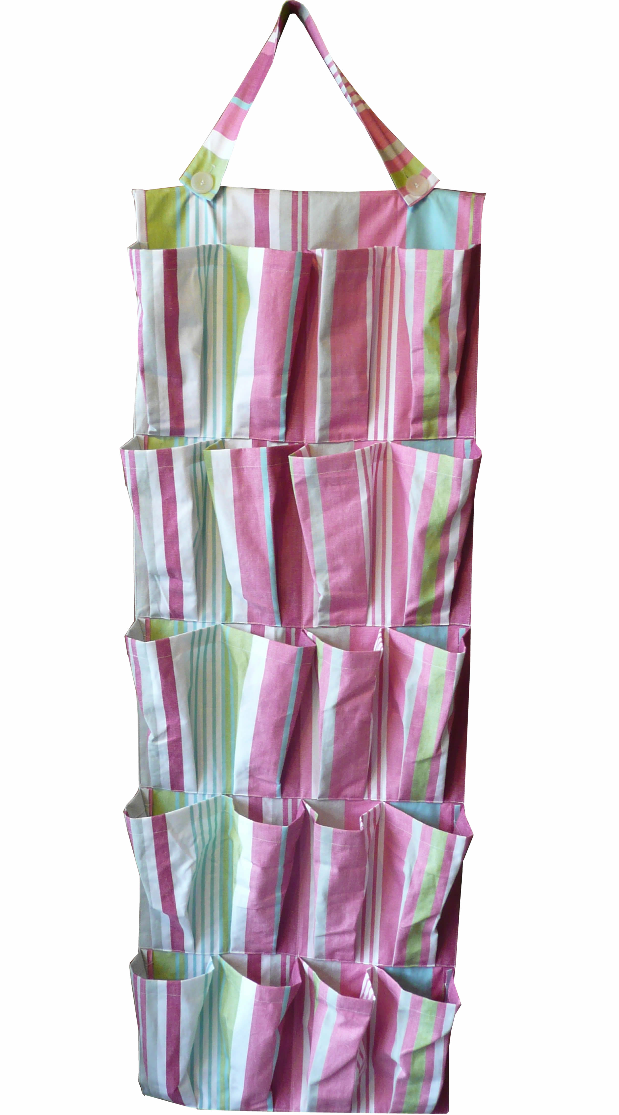 Pink Hanging Pocket Organisers | Hanging Storage Organiser - Riding Stripe