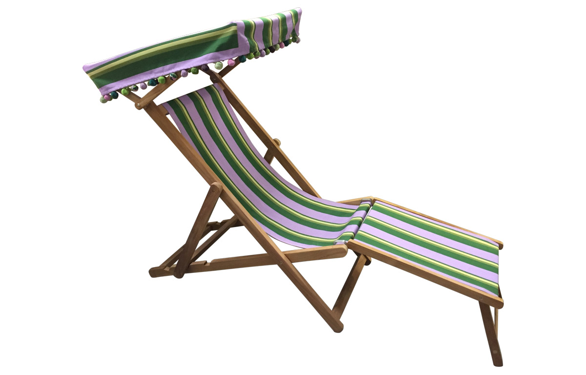 lilac, lime, dark green - Edwardian Deckchairs with Canopy and Footstool