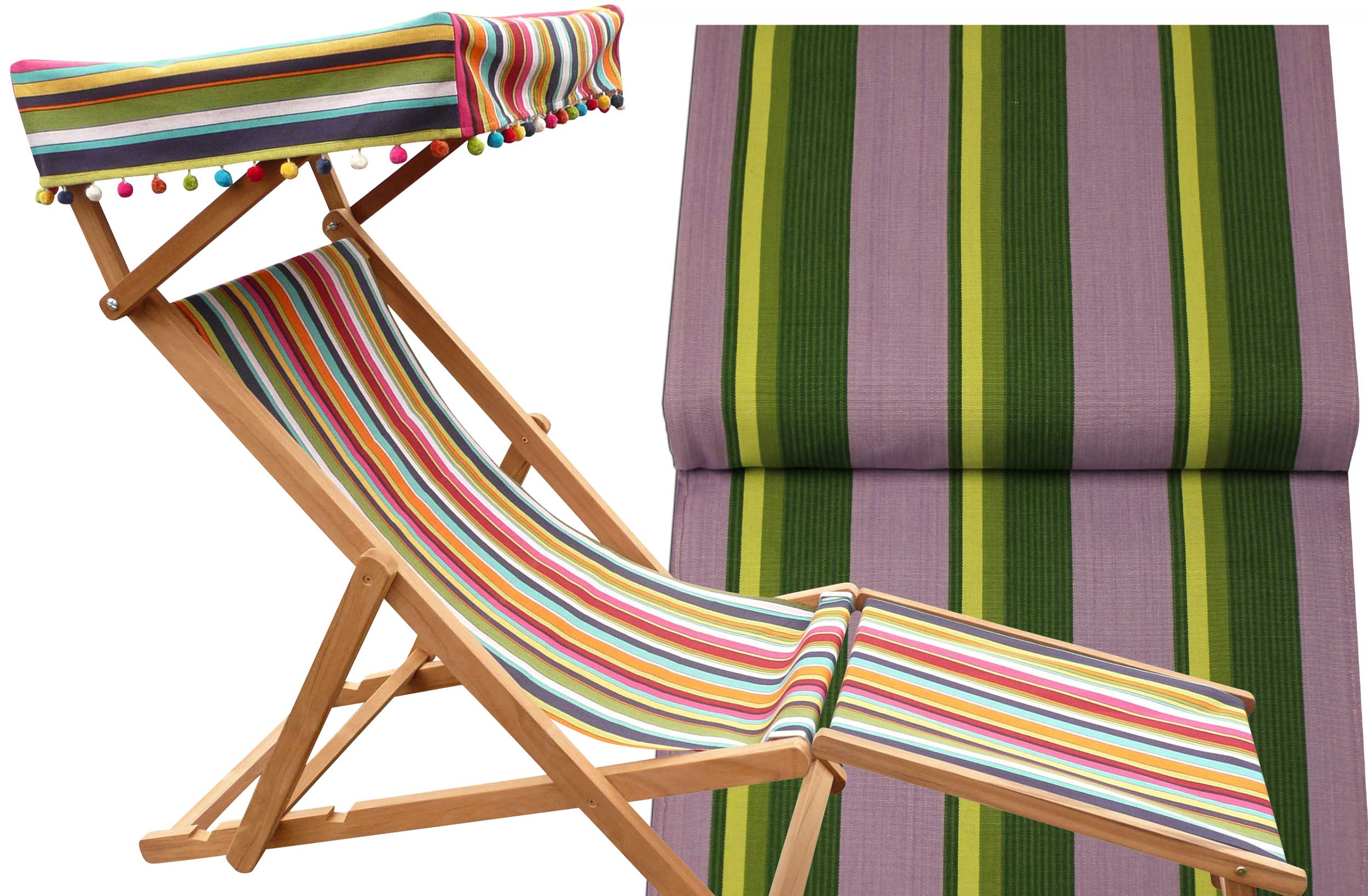 Edwardian Deckchairs with Canopy and Footstool lilac, lime, dark green