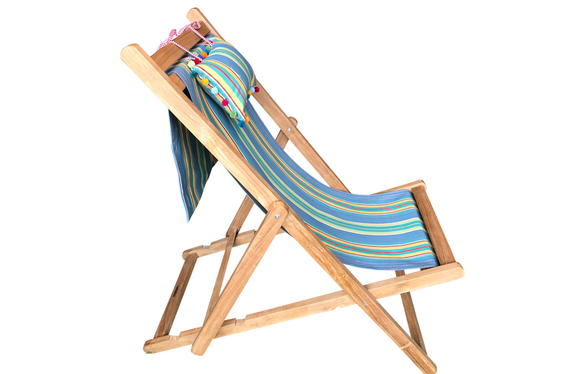 Teak Deckchair with Headrest and Pockets Sky blue, jade green
