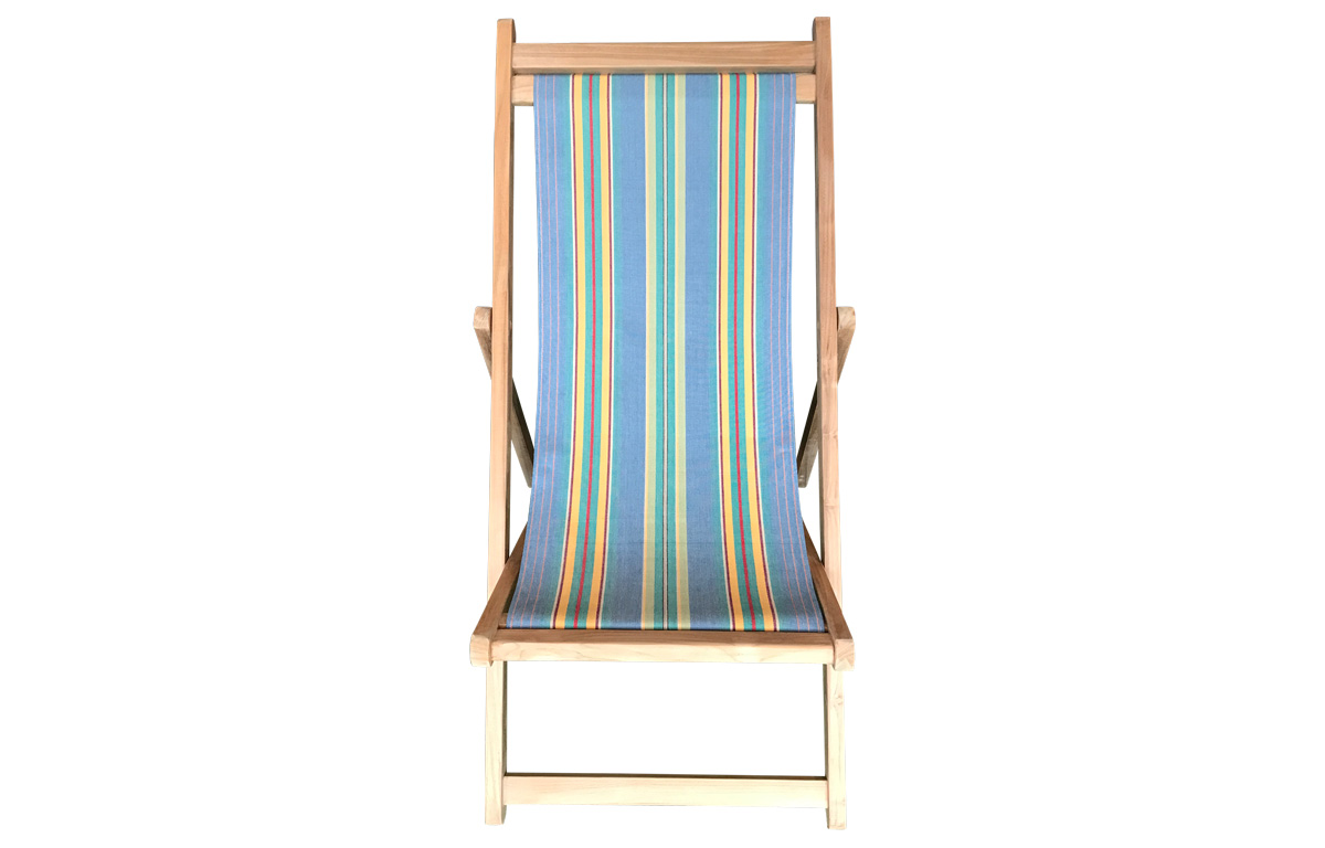 Premium Deck Chair with Vintage Sky Blue Striped Cover
