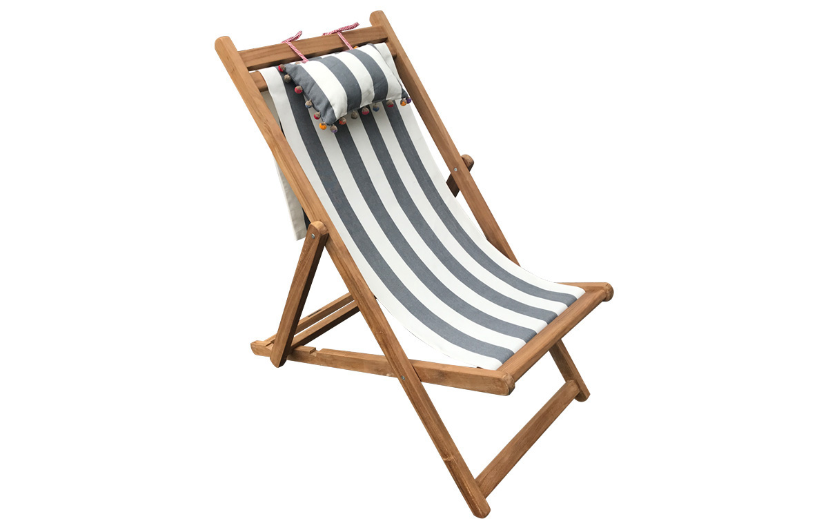 charcoal, white- Teak Deckchair with Headrest and Pockets