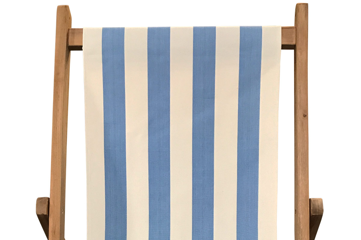 Sky blue and white- Classic Striped Deckchair Canvas Fabric - Thick Weave