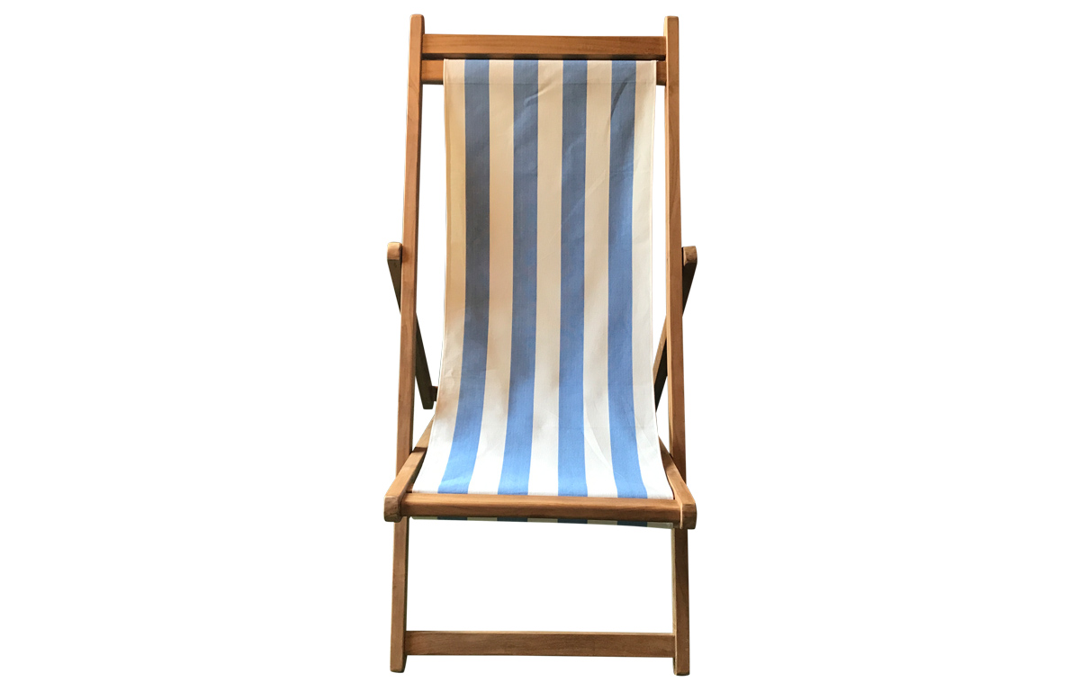 Sky Blue and White Stripe Premium Deck Chairs