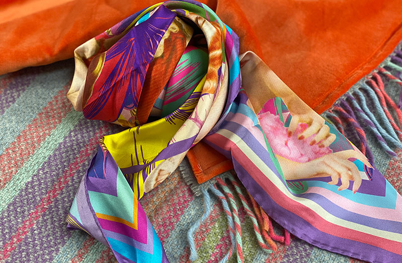 Italian Silk Scarves with Lavender Pastel Stripes
