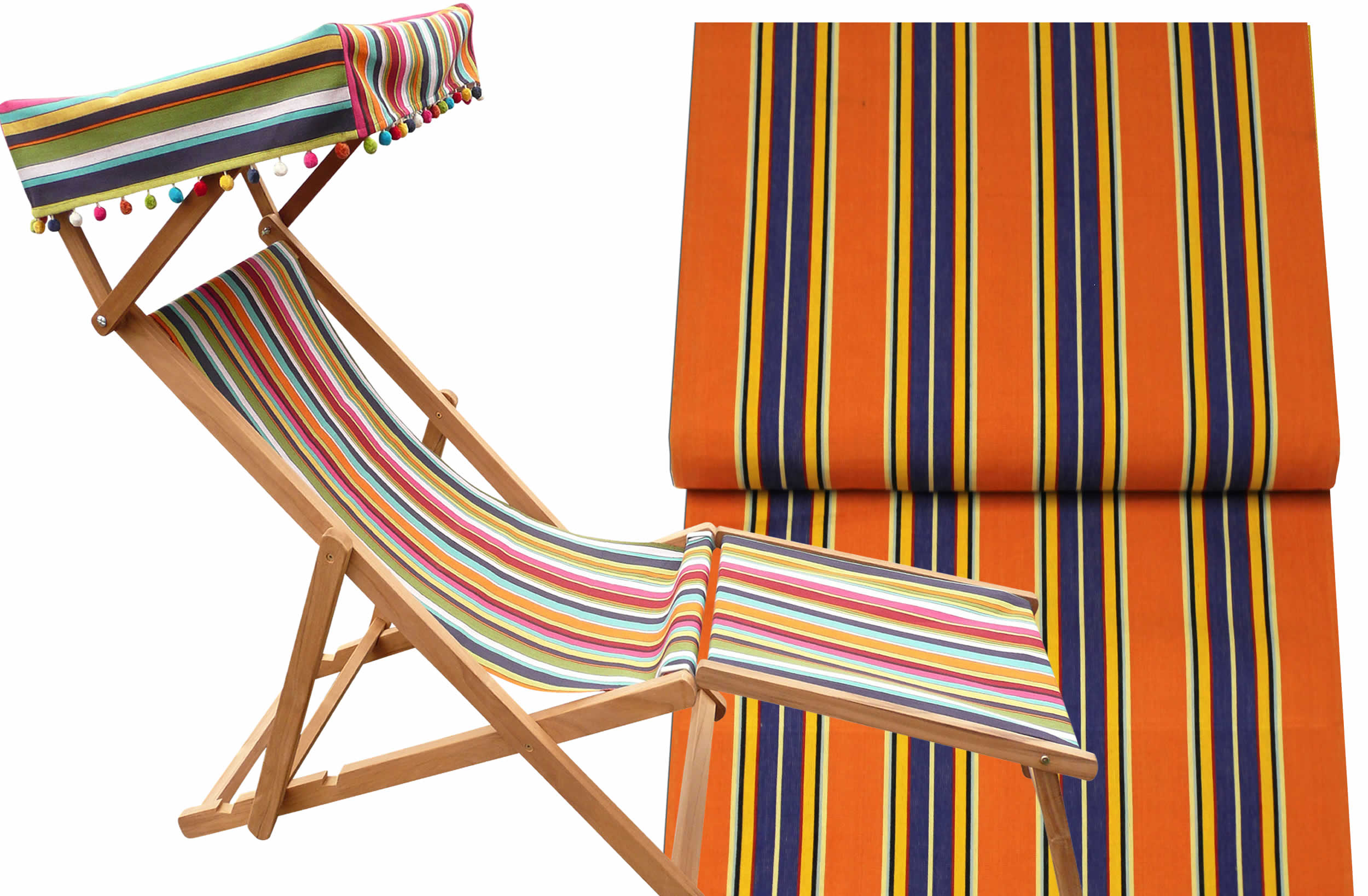 Edwardian Deckchairs with Canopy and Footstool rust, blue, yellow