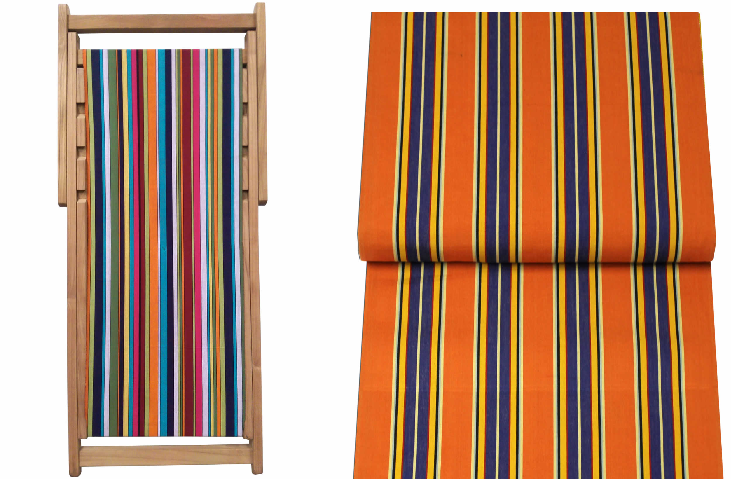 Teak Deck Chairs rust, blue, yellow stripes