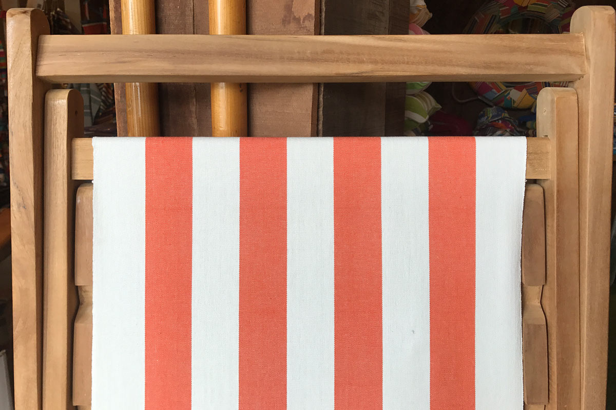 orange white- Classic Striped Deckchair Canvas Fabric - Thick Weave