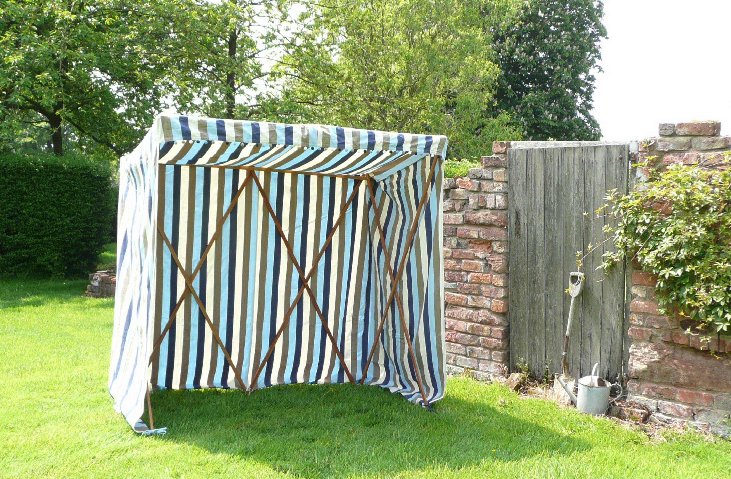 Light blue, Dark Blue, Beige and White Stripe Sun Shelter