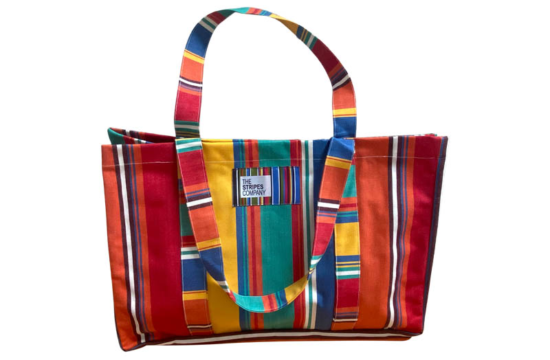 Orange, Blue, Jade Green, Yellow, Red Stripe Extra Large Beach Bags