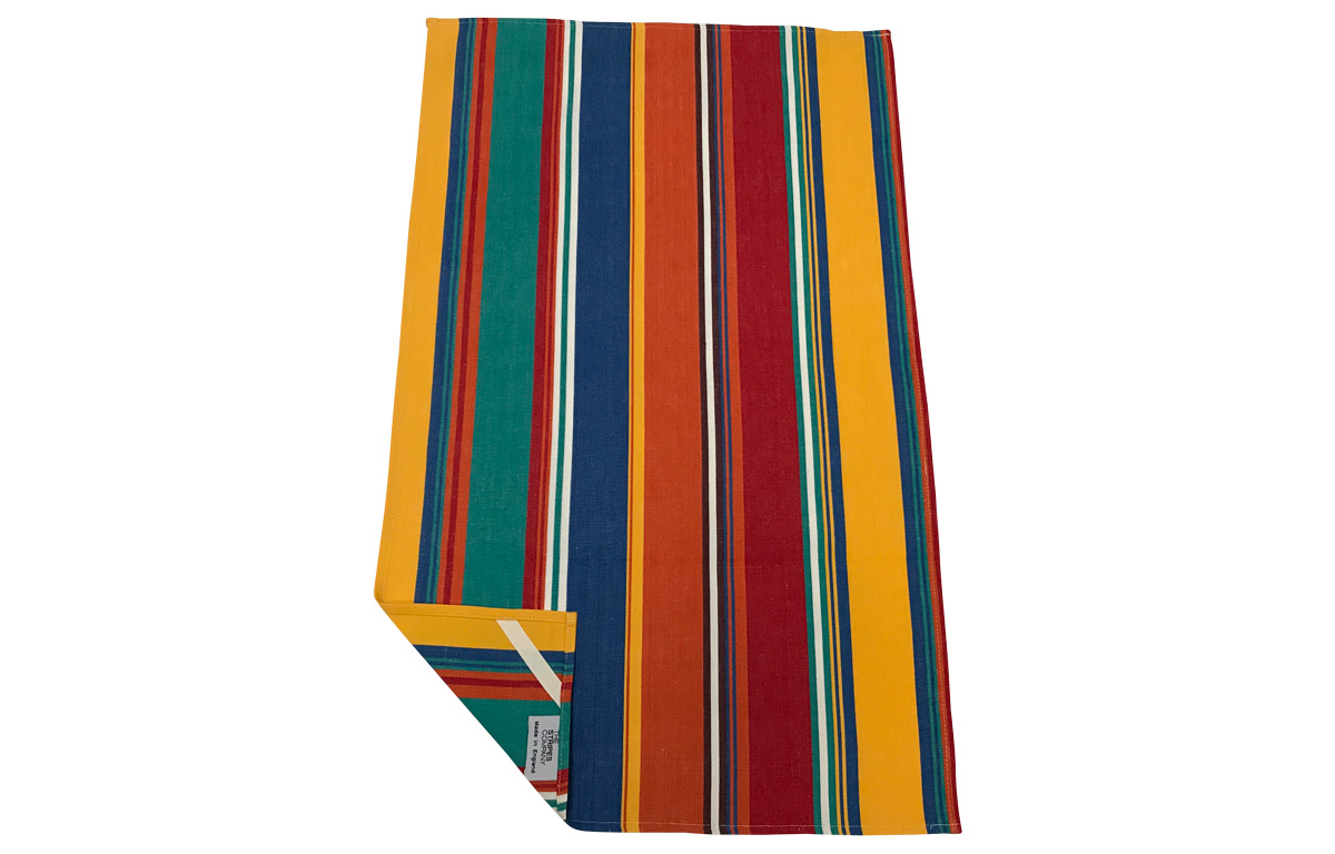 Jade Green Stripe Tea Towels | Striped Teatowels orange, blue, jade green