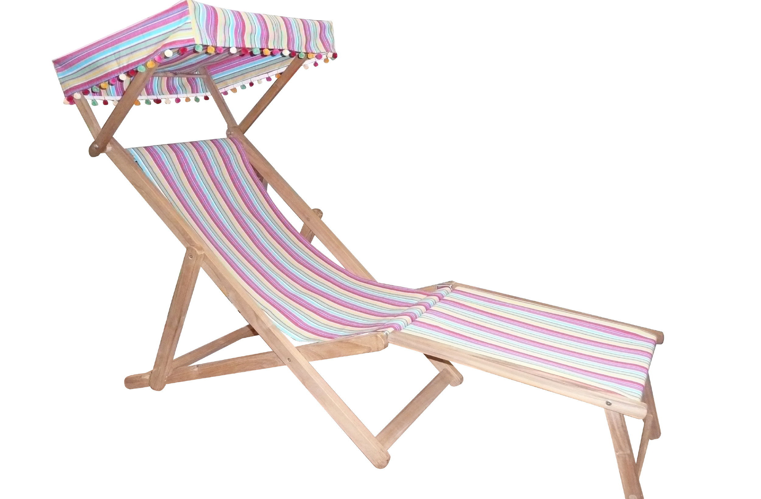 Karting Pink Edwardian Deckchairs with Canopy and Footstool