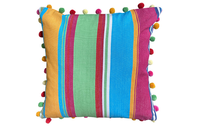 Pink, Green and Yellow Stripe Pompom Cushion 40x40cm
