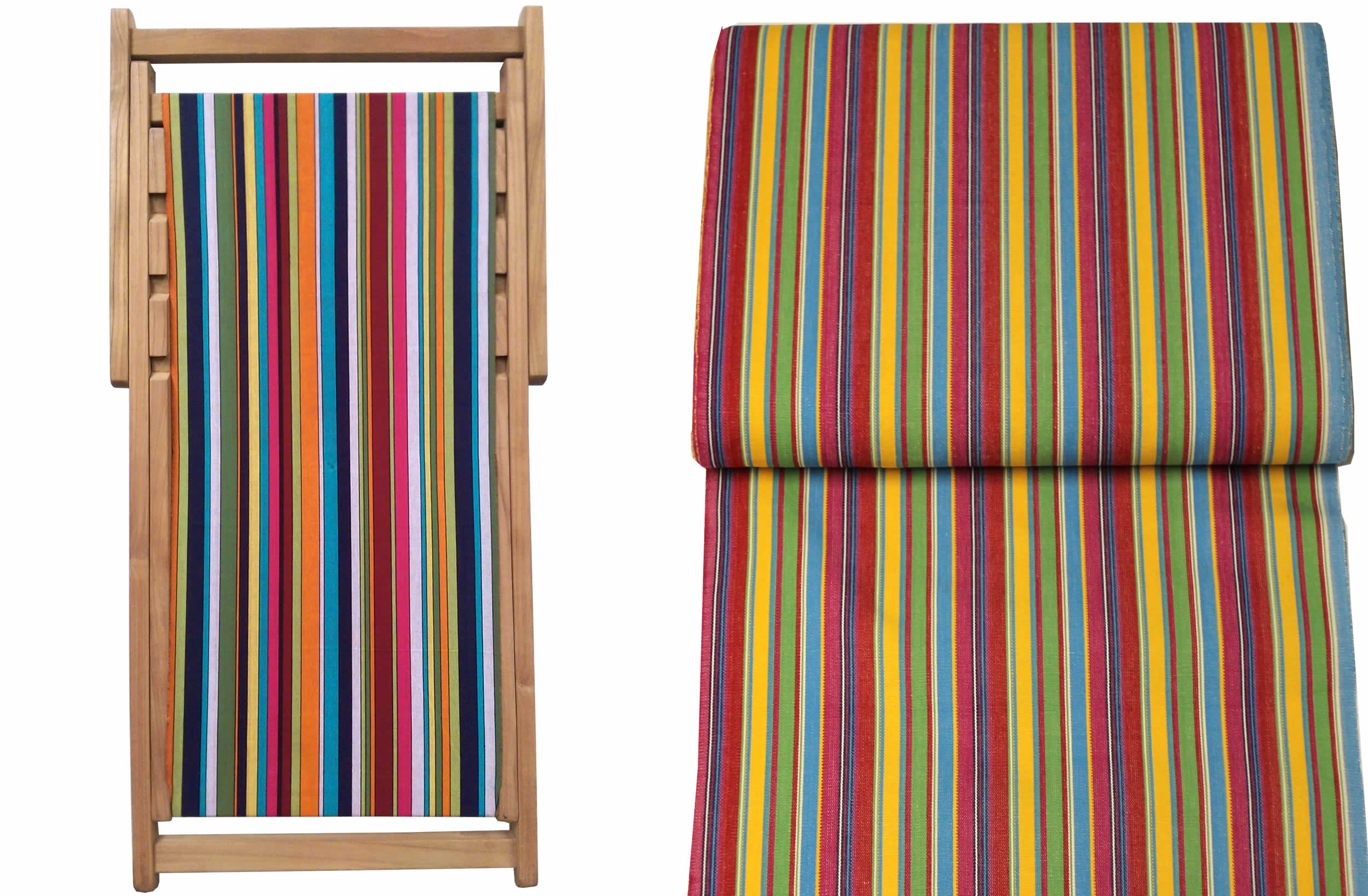 Teak Deck Chairs pink, green, yellow stripes