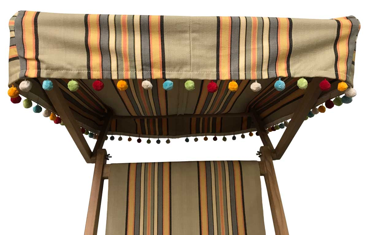 Vintage Look Edwardian Deckchairs with Canopy and Footstool