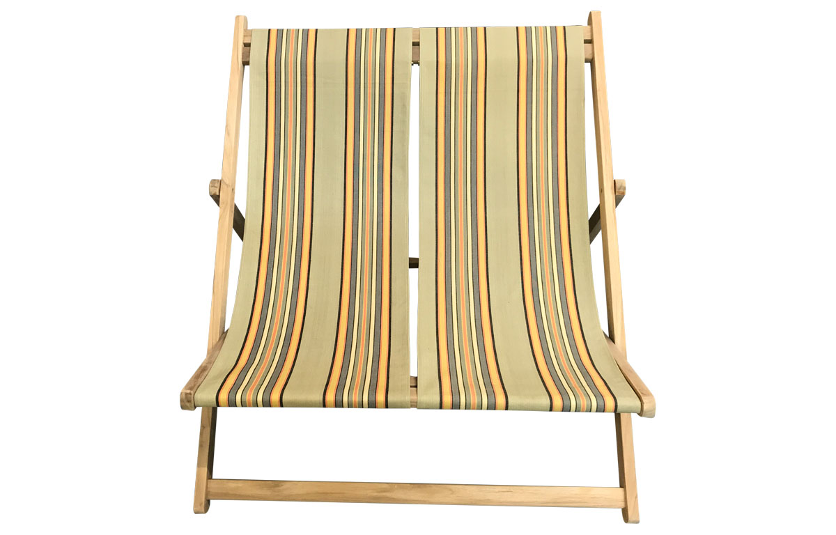Kickball Double Deckchair - khaki, sand, light blue