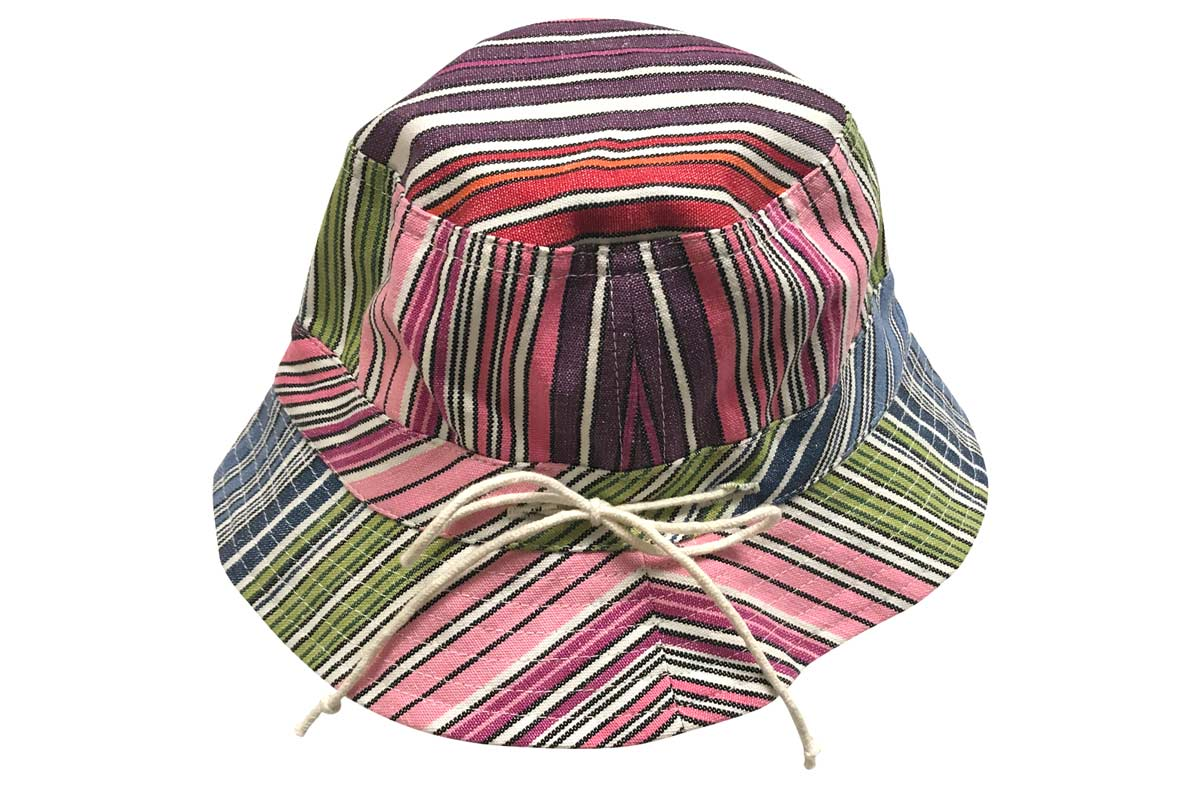 Kids Striped Sun Hat narrow rainbow multi stripe, white