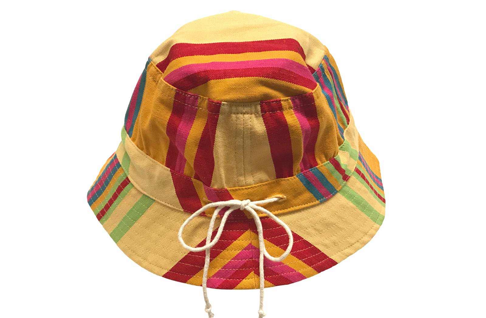 Childrens Yellow Striped Bucket Hat Sun Hat