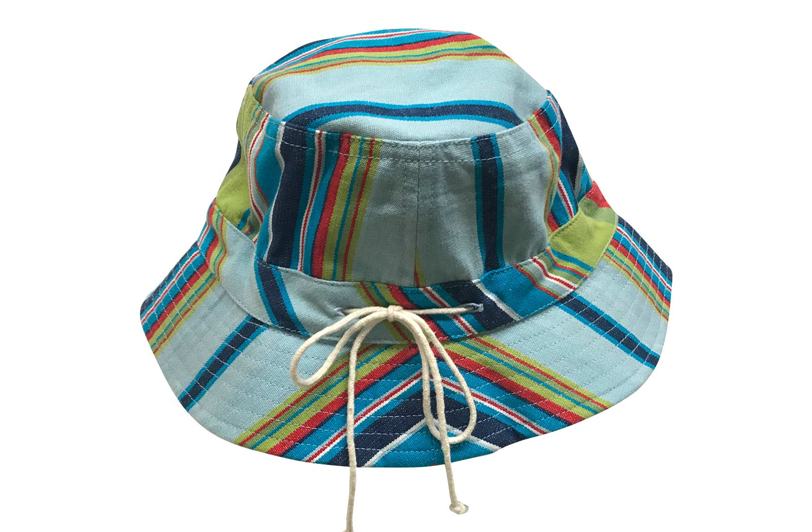 Pale Blue, Navy, Turquoise Striped Kids Sun Hat